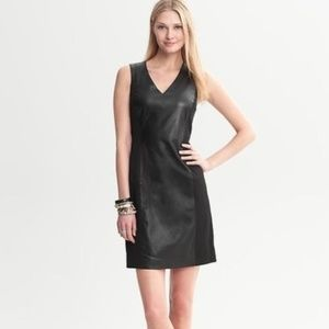 BANANA REPUBLIC Black Leather Panel Dress 6